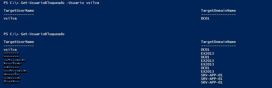 Resultado de ejecutar la función Get-UsuarioBloqueado